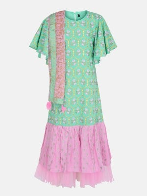 Pastel Green Printed and Embroidered Linen Long Gown