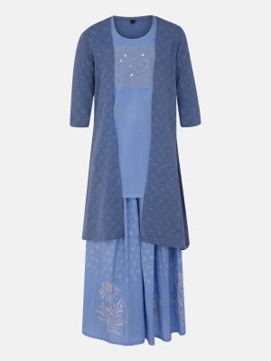 Light Blue Printed and Embroidered Linen Ghagra Choli with Coaty