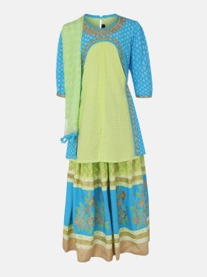 Lime Green Printed and Embroidered Linen Ghagra Choli