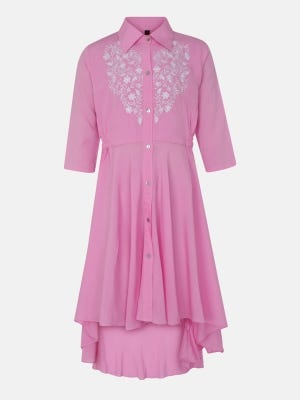Pink Embroidered Linen Frock