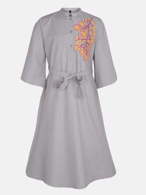 Grey Embroidered Mixed Cotton Frock