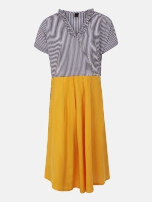 White Striped Embroidered Mixed Cotton-Linen Frock
