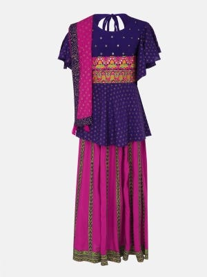 Purple Printed and Embroidered Linen Ghagra Choli