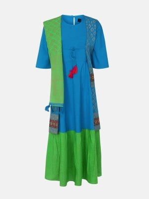 Blue Printed and Embroidered Linen Long Gown Set
