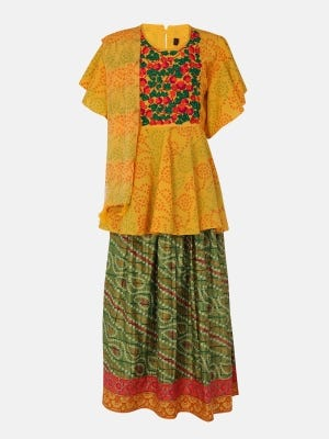 Yellow Printed and Embroidered Linen Ghagra Choli