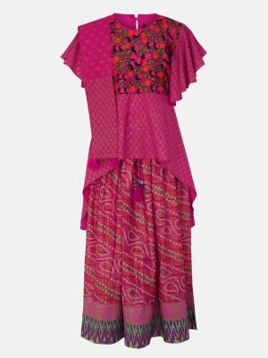 Pink Printed and Embroidered Linen Ghagra Choli