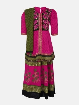 Magenta Printed and Embroidered Linen Ghagra Choli Set