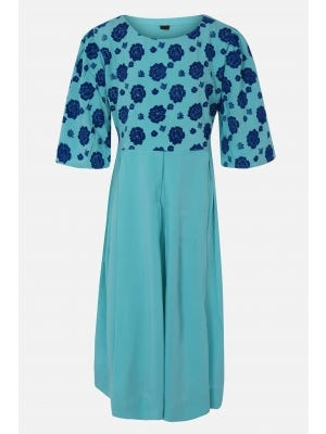 Light Turquoise Printed Linen Frock