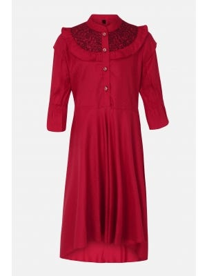 Red Embroidered Linen Frock