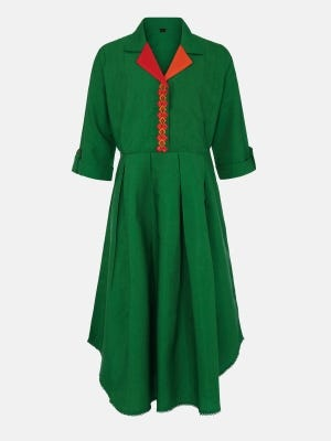 Green Embroidered Rayon-Cotton Frock
