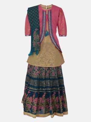 Pink Printed and Embroidered voile Ghagra Choli