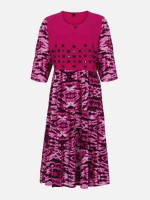 Fuchsia Printed and Embroidered Linen Frock