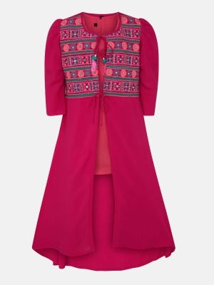 Peach Embroidered Linen Frock with Coaty