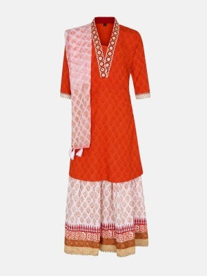 Orange Printed and Embroidered Linen Ghagra Choli
