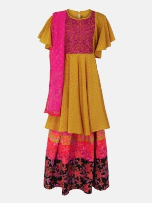 Mustard Yellow Printed and Embroidered Linen Ghagra Choli