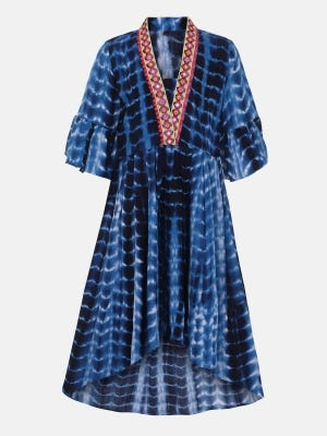 Blue Printed and Embroidered Linen Frock