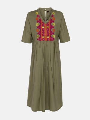 Olive Green Embroidered Handloom Cotton Frock