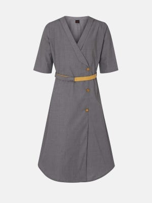 Grey Dual Tone Embroidered Mixed Cotton Frock