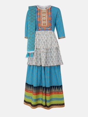 Sky Blue Printed and Embroidered Linen Ghagra Choli