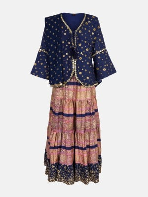 Midnight Blue Printed and Embroidered Mixed Cotton Ghagra Choli
