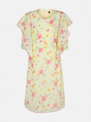 Pastel Yellow Printed Mixed Cotton Frock