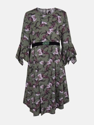 Olive Green Printed and Embroidered Linen Frock