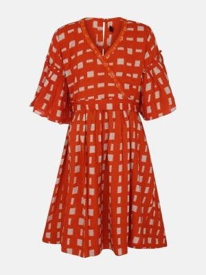 Fire Orange Embroidered Linen Frock
