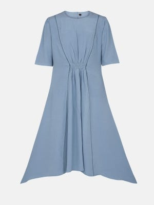 Blue Grey Printed  Fabric Frock