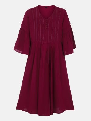 Maroon Textured Embroidered Linen Frock