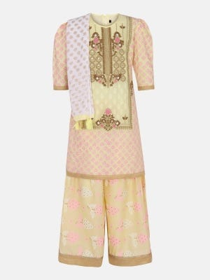 Pastel Yellow Printed and Embroidered Ghagra Choli Set