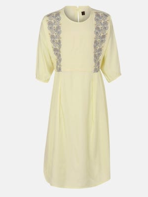 Light Yellow Embroidered Mixed Cotton Frock