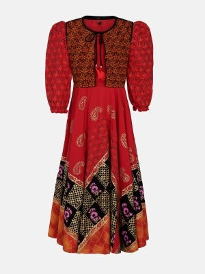 Brick Red Printed and Embroidered Linen Long Gown with Coaty
