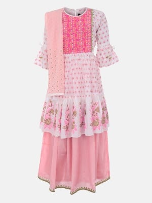White Printed and Embroidered Linen Ghagra Choli