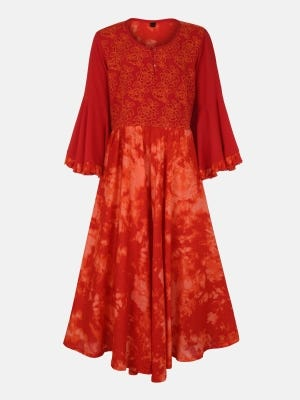 Fire Orange Printed and Embroidered Linen Frock