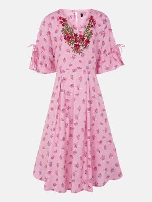 Pink Printed and Embroidered Linen Frock
