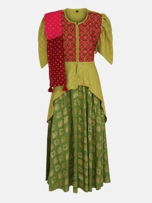 Olive Green Printed and Embroidered Linen Ghagra Choli