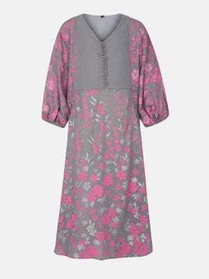 Light Grey Printed Mixed Cotton Frock
