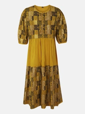 Mustard Printed Mixed Cotton Frock