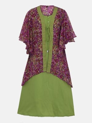 Lime Green Printed and Embroidered Linen-Georgette Frock with Coaty