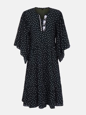 Midnight Blue Printed and Embroidered Mixed Cotton Frock
