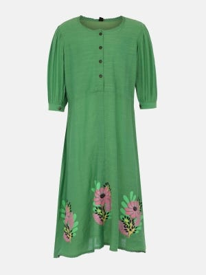 Green Printed Mixed Cotton Frock