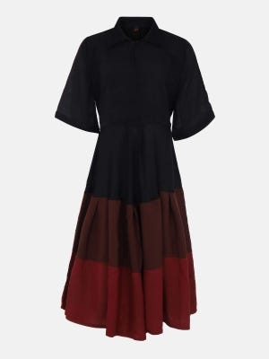 Black Embroidered Mixed Cotton Frock