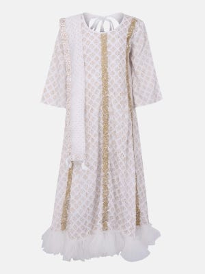 White Printed and Embroidered Linen Long Gown