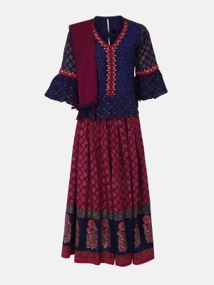 Midnight Blue Printed and Embroidered Linen Ghagra Choli