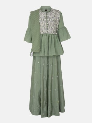 Sage Green Printed and Embroidered Linen Ghagra Choli