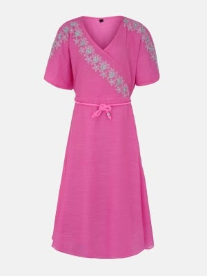 Pink Embroidered Mixed Cotton Frock