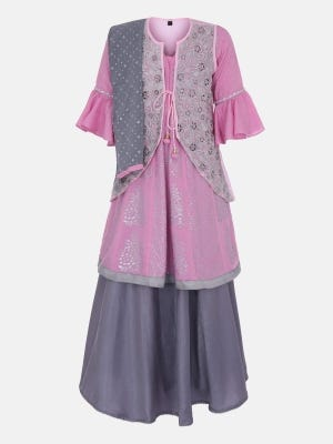 Pink Printed and Embroidered Linen Ghagra Choli with Coaty