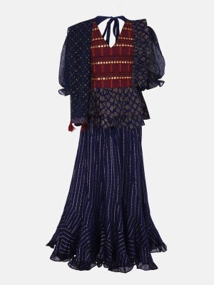 Navy Blue Printed and Embroidered Linen Ghagra Choli