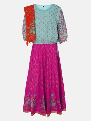 Mint Green Printed and Embroidered Linen Ghagra Choli
