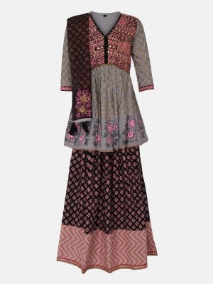 Grey Printed and Embroidered Linen Ghagra Choli